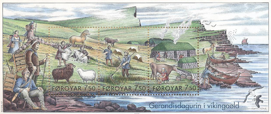 Faroe Stamps Depicting Everyday Life In The Viking Age
